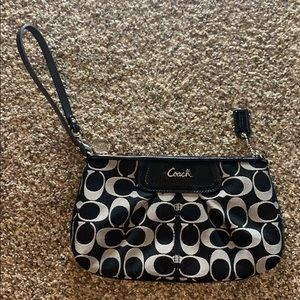 Coach Wristlet Black & Grey with Signature 'C'